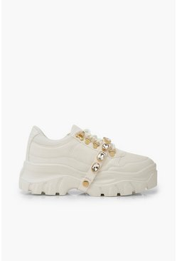 Womens White Embellished Strap Chunky Platform Hiker Trainers