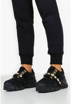 Womens Black Embellished Strap Chunky Platform Hiker Trainers