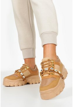Womens Tan Embellished Strap Chunky Platform Hiker Trainers