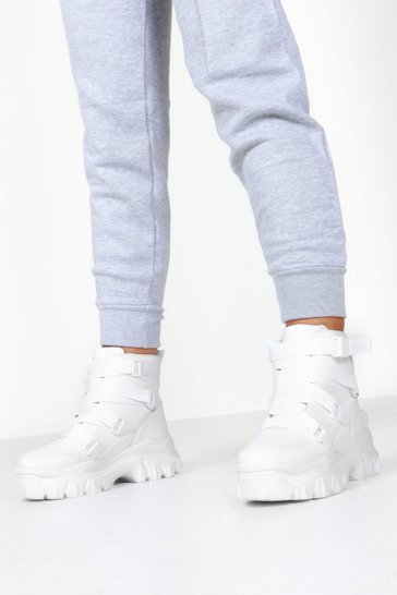 Womens White Belt Strap Chunky Platform Trainers