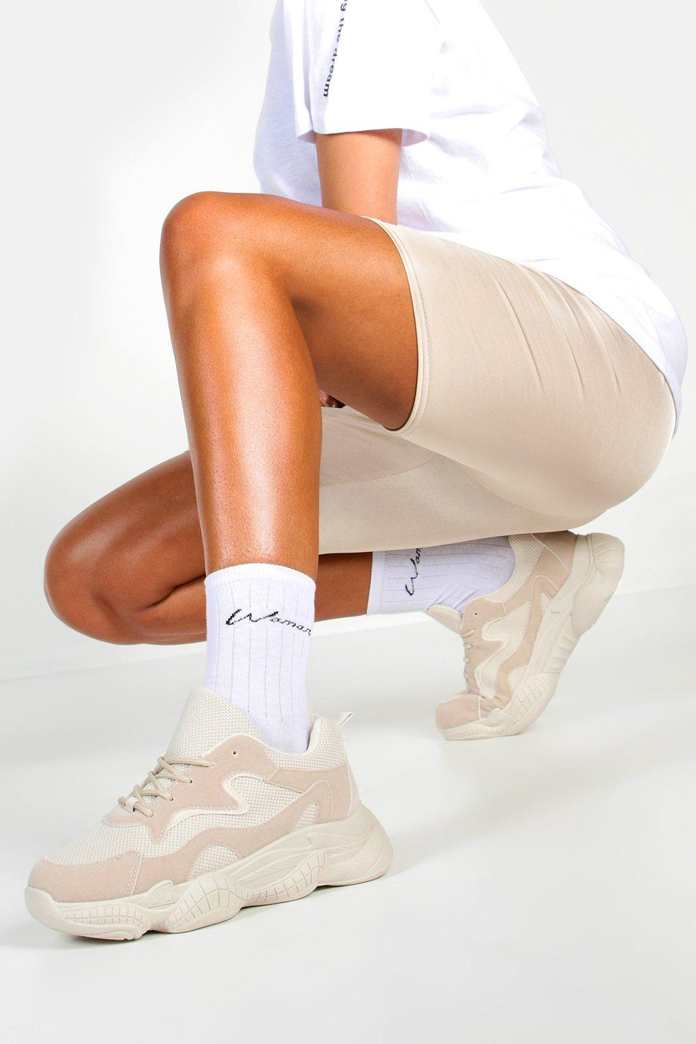womens chunky sole lace up sneakers - beige - 5