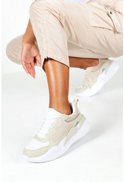 Womens Natural Tonal Contast Panel Trainers