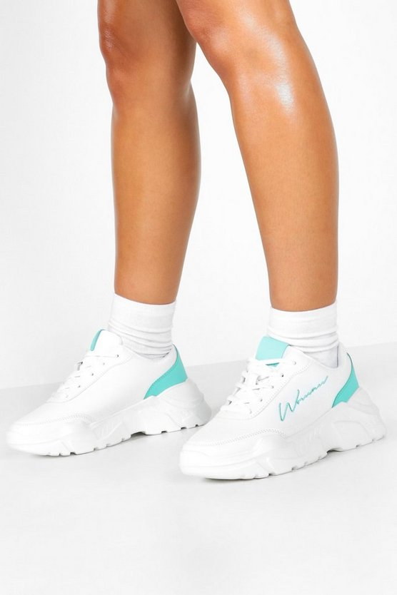 Embroidered Woman Slogan Chunky Trainers