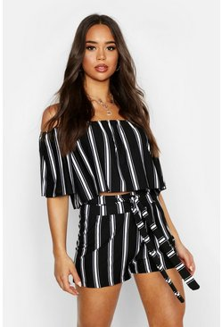 Womens Black Striped Bandeau & Short Co-ord