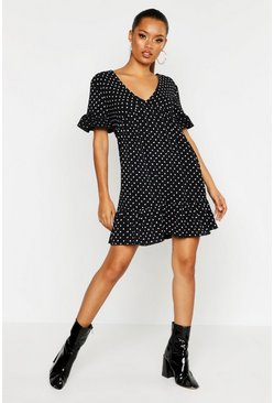 Womens Black Heart Print Plunge Ruffle Hem Smock Dress