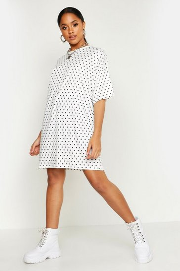 Womens White Polka Dot Oversized Drop Shoulder T-Shirt Dress