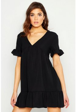 Womens Black Plunge Ruffle Sleeve Smock Dress