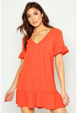 Rust Plunge Ruffle Sleeve Smock Dress