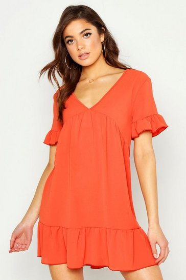 Womens Rust Plunge Ruffle Sleeve Smock Dress