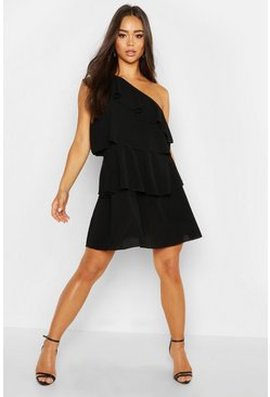 Womens Black Woven One Shoulder Smock Dress
