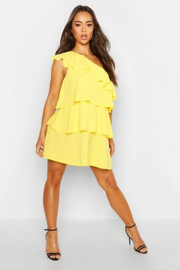 Womens Yellow Woven One Shoulder Smock Dress