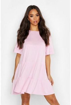 Soft pink Crew Neck Flutter Sleeve Tiered Smock Dress