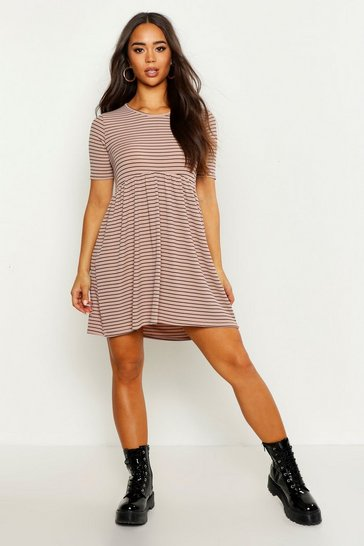 Womens Sand Rib Crew Neck Oversized Smock Dress