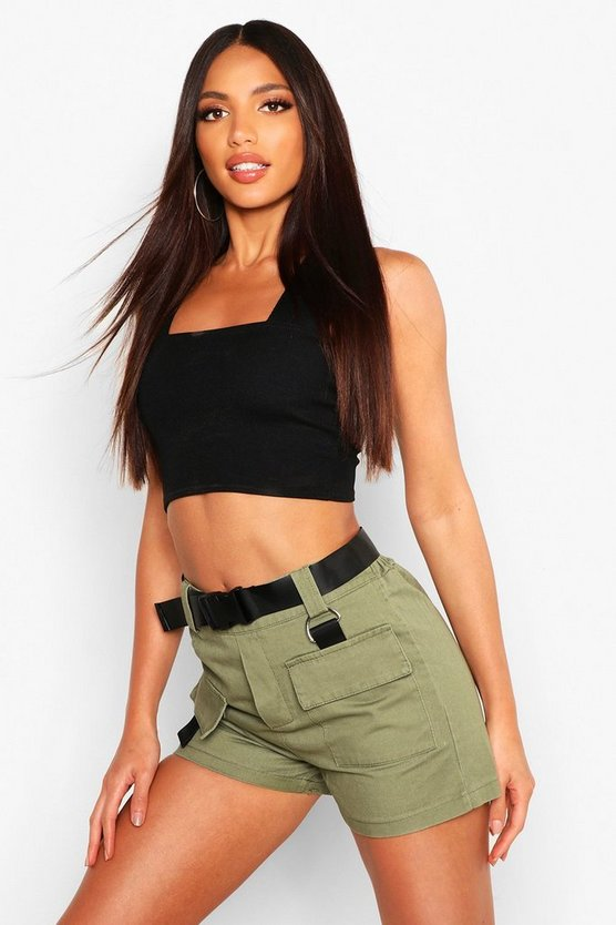 Buckle Belted Utility Short by Boohoo