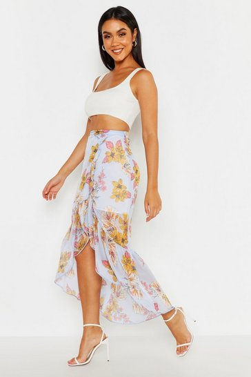 Womens Blue Dipped Hem Floral Maxi Skirt