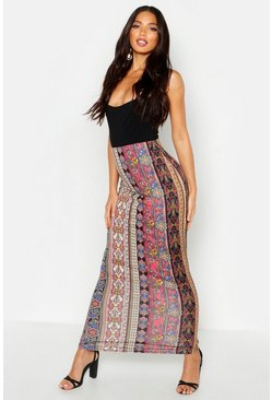 Womens Black Bohemian Stripe Tube Jersey Maxi Skirt