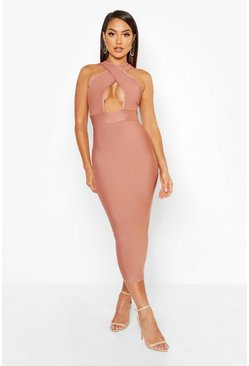 Womens Mauve Boutique Premium Wrap Front Midi Contour Bandage Dress