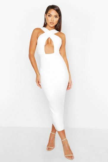 Womens White Boutique Premium Wrap Front Midi Bandage Dress