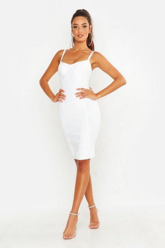 White Premium Cup Detail Bodycon Dress