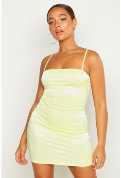 Womens Lime Strappy Square Neck Bodycon Mini Dress