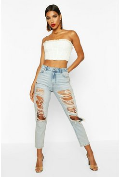 Womens Light blue High Rise Distressed Mom Jean