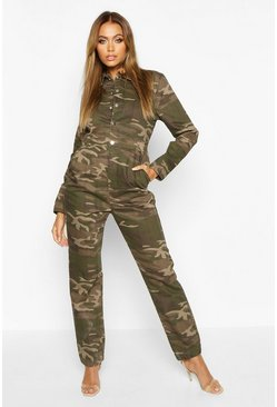 Womens Camo Denim Boilersuit