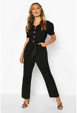 Womens Black Tie Waist Sleeve Detail Denim Jumpsuit