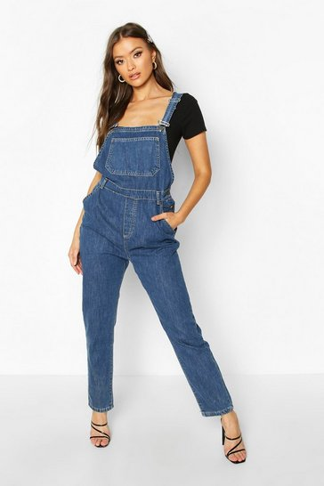 Womens Mid blue Slim Fit Denim Dungaree
