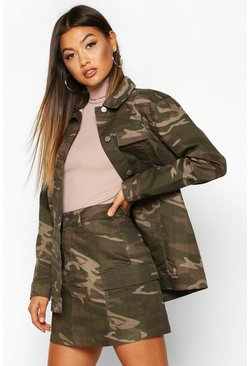 Womens Washed Camo Pocket Denim Mini Skirt