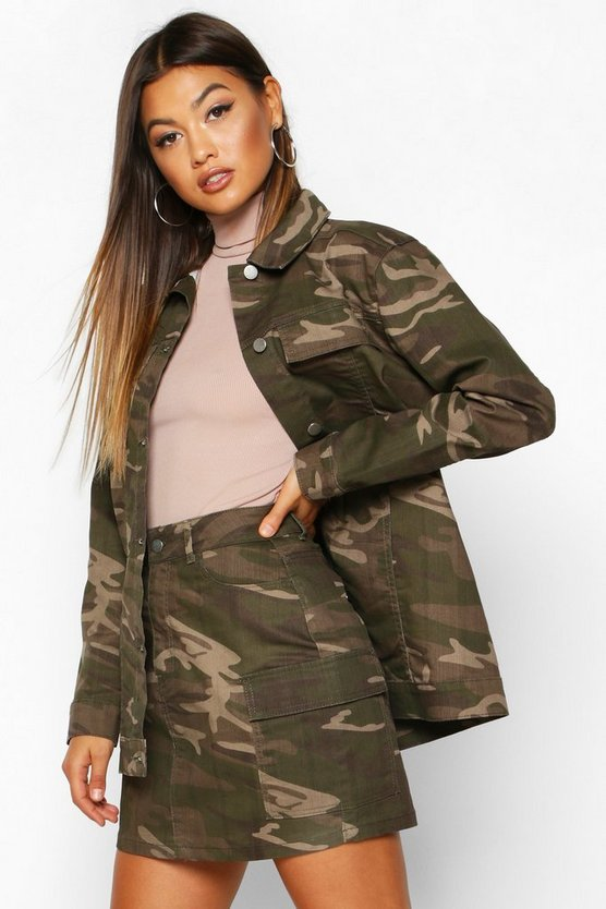 Washed Camo Pocket Denim Mini Skirt