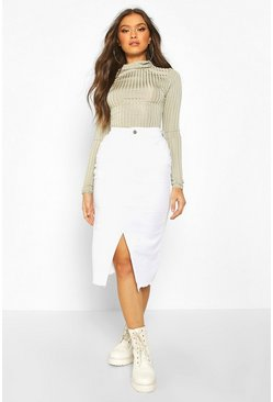 Womens White Power Stretch Split Front Denim Mini Skirt