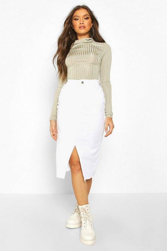 Power Stretch Split Front Denim Mini Skirt
