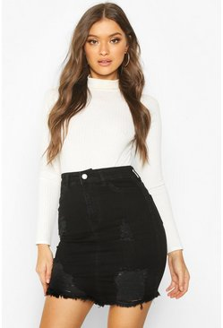 Womens Black Power Stretch Distressed Denim Mini Skirt