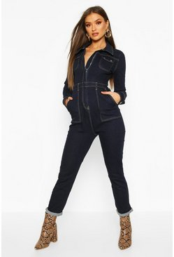 Combinaison en denim Power Stretch à poche fonctionnelle, Indigo, Femme
