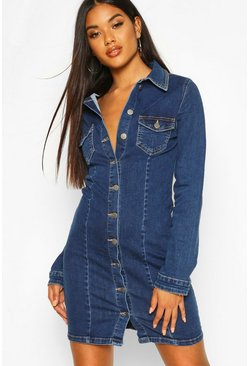 Womens Mid blue Long Sleeve Denim Bodycon Dress