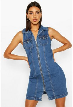 Womens Mid blue Zip Front Power Stretch Denim Bodycon Dress