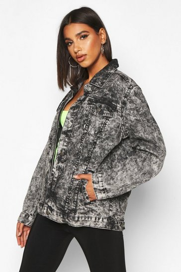 Womens Black Acid Wash Oversized Denim Jacket