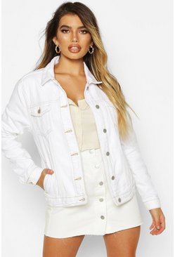 Womens White Contrast Stitch Denim Jacket
