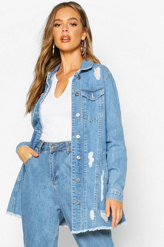 Womens Light blue Distressed Longline Denim Jacket