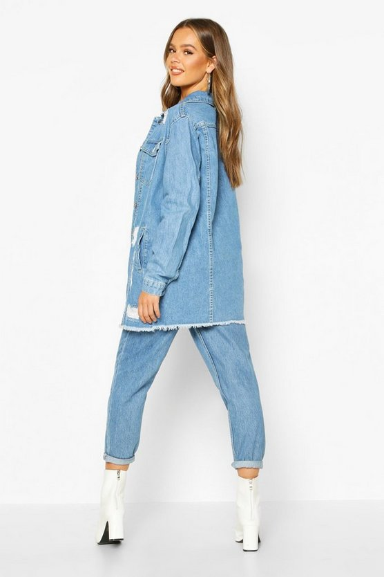 Distressed Longline Denim Jacket