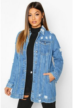 Womens Dark blue Distressed Frayed Hem Denim Jacket