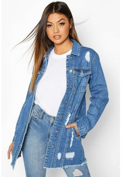 Light blue Distressed Frayed Hem Denim Jacket