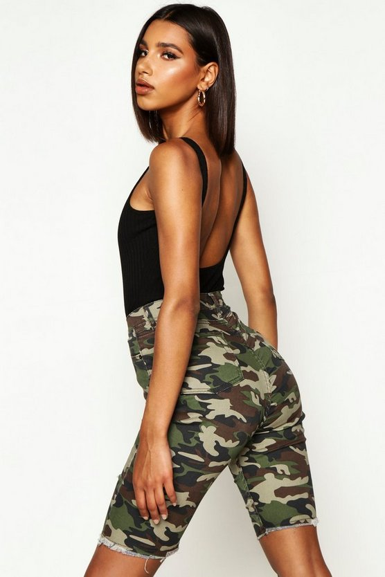 High Rise Camo Distressed Denim Short
