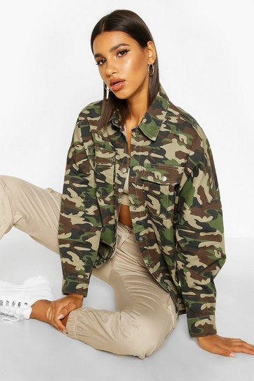 Womens Oversized Camo Denim Shirt