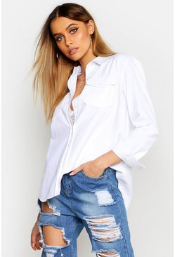 Womens White Slim Fit Denim Shirt