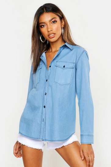 Womens Mid blue Slim Fit Deinm Shirt