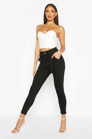 Womens Washed black High Rise Tie Waist Skinny Jean