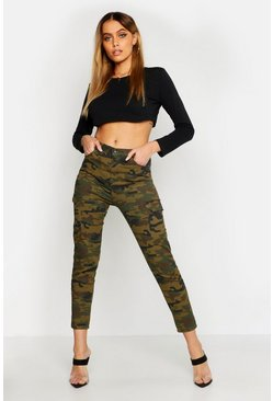 Womens Green Camo Pocket Detail Skinny Jean