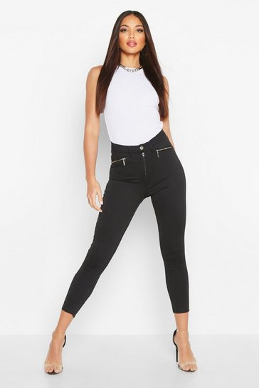 Womens Black Zip Detail Stretch Skinny Jean