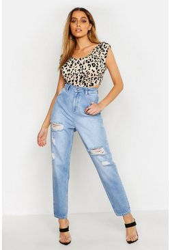 Light blue High Rise Distressed Mom Jean